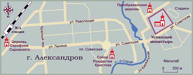 Карта Александрова, от ж.д.